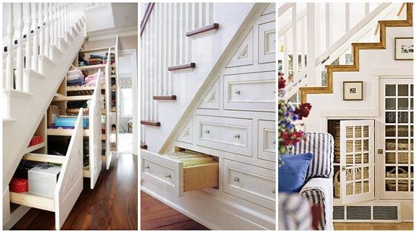 A stair case with storage space